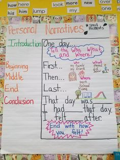 Layout for personal narrative/small moment writing for first grade Narrative Writing Kindergarten, Personal Narrative Writing, Personal Narratives, Teaching Writing, Informational Writing, Writing Workshop, Literacy, Narrative Anchor Chart, Writing Anchor Charts