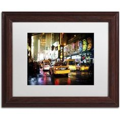 Trademark Fine Art 'Time Night Nyc' Canvas Art by Philippe Hugonnard, White Matte, Wood Frame, Red