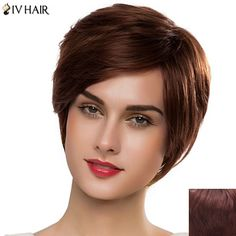 Charming Short Siv Hair Side Bang Capless Straight Women's Real Human Hair Wig #>=#>=#>=#>=#> Click on the pin to check out discount price, color, size, shipping, etc. Save and like it!