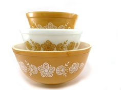 Vintage pyrex mixing bowls in Butterfly Gold by reconstitutions