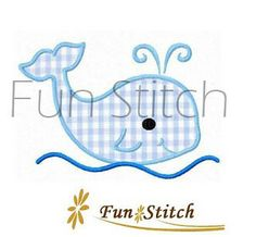 whale applique machine embroidery design by FunStitch on Etsy, $2.89