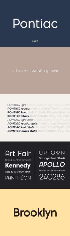 Pontiac - Pontiac is a sans serif OpenType font designed by Fanny Coulez and Julien Saurin in Paris. Somewh...