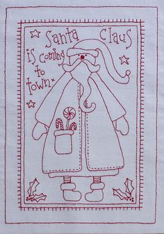 Embroidery Pattern for those who want Christmas, from rosaliequinlandesigns.typepad.com. jwt I don't do Stitchery for Christmas so I don't look at the Patterns. jwt