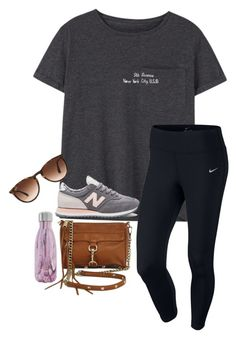 """""""5th avenue"""" by ava-lindsey ❤ liked on Polyvore featuring MANGO, Ray-Ban, New Balance, NIKE, Rebecca Minkoff and S'well"""