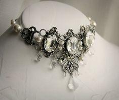 Imperia Aged Silver and Swarovski Choker - Crytsal - Silver - Necklace - Edwardian - Victorian - Georgian - Fantasy - Women - Bridal - Prom