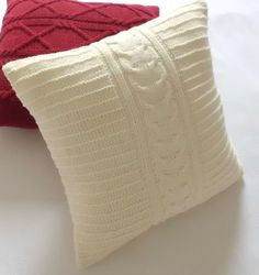 Cable knit off-white pillow cover, hand knitted cushion cover, decorative throw pillow, knit couch pillow, knit pillow sham