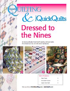 Free downloadable eBook of 3 nine patch quilt patterns from McCall's Quilting.