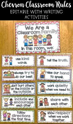 Classroom rules with writing activities for easy classroom management. Chevron themed classroom rules and decor. First Grade Classroom, New Classroom, Classroom Community, Classroom Setting, Classroom Ideas, Classroom Rules Display, Kindergarten Procedures, Kindergarten Classroom Rules, Classroom Promise