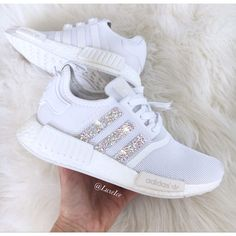 Adidas Nmd Runner Customized With Swarovski Xirius Rose-Cut Crystals. (€215) ❤ liked on Polyvore featuring shoes, athletic shoes, silver, sneakers & athletic shoes, women's shoes, shiny shoes, polish shoes and logo shoes