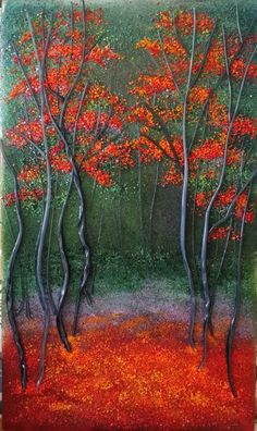 Red Forest - Bullseye Glass Frit Painting and Vitrigraph by Diane Quarles @Aspen Light Glass Studio