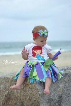 Fabric Tutu, UNDER THE SEA, Little Mermaid, Ariel, Shabby Chic Tutu, Halloween Costume, Photo Prop, Childrens Toddler Infant Tutu, Birthday on Etsy, $34.00