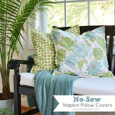 No-Sew Napkin Pillow Covers