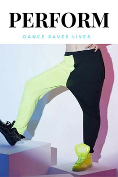 Two-toned jogger hip hop dance pants.