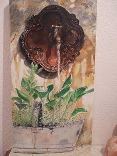 """""""La fuente"""" por Susana Marcos Figueroa 60 x 30 x 4 cm .Óleo sobre lienzo."""