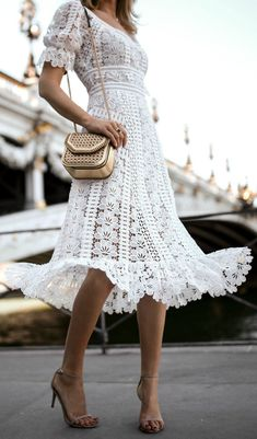 30 Dresses in 30 Days | Day 10: Rehearsal Dinner for the Bride // white floral embroidered lace midi dress, nude Stuart Weitzman nudist heeled sandals, metallic woven shoulder bag {Self Portrait, Stuart Weitzman, Stella McCartney, summer outfit, classic style, fashion blogger}