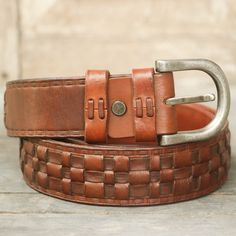 Tan braided leather belt