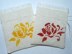 Linen Burlap bag with satin painted rose, Wedding Favor Bag, gift bags,candy bags,Linen sachets 10*13cm, jewelery storage, set of 7 pcs. by Jolanyasewing on Etsy