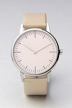 cream watch simple face leather band... want