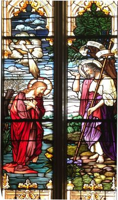 Baptism of Jesus by St. John the Baptist in the Jordan River. From St. Patrick Church on Bridge Street on the west side of Cleveland, Ohio. (stpatrickbridge.org) This is from a beautiful series on the Life of Christ which begins with the Annunciation and ends with the Resurrection. A Deacon told me that the famous Franz Mayer company in Germany created these beautiful stained-glass windows. (c) 2012 Paul Fry Baptism Of Christ, Life Of Christ, Beautiful Series, Catholic School, John The Baptist, Cleveland Ohio, West Side, Stained Glass Windows, St Patrick