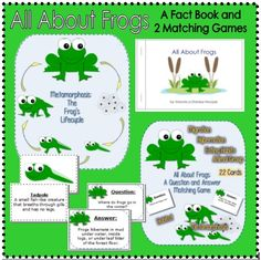 This colorful set includes 2 matching games (Total of 32 cards) and a 10 page student book. The student book is a non-fiction book containing facts. Hands On Learning, Home Learning, Frog Facts, Classroom Pets, Activity Ideas, Matching Games, Business For Kids, Literacy Centers, Reading Comprehension