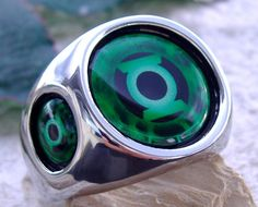 Green Lantern Ring Steel Red Blue Silver Dc Corps Comics Super Hero Green N47