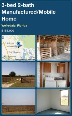 3-bed 2-bath Manufactured/Mobile Home in Weirsdale, Florida ►$155,000 #PropertyForSale #RealEstate #Florida http://florida-magic.com/properties/9741-manufactured-mobile-home-for-sale-in-weirsdale-florida-with-3-bedroom-2-bathroom