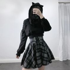 Women's High-waisted Lace-up Suede Plaid Skirts Edgy Outfits, Skirt Outfits, Cool Outfits, Fashion Outfits, Kawaii Fashion, Cute Fashion, Kawaii Clothes, Alternative Outfits, Plaid Skirts