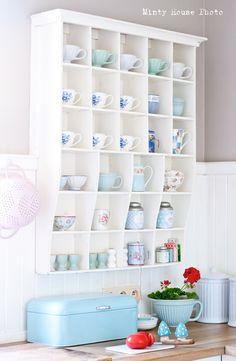 Minty House kitchen, pastels, Ib Laursen, Green Gate, Cath Kidston, blue enamel