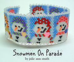 Julie Ann Smith Designs SNOWMEN ON PARADE Bracelet Odd Count Peyote Beadweaving Bracelet Pattern