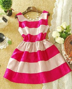 Pretty pink and white striped dress