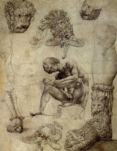 Jan Gossaert, Antique fragments with Spinario, drawing, 1508
