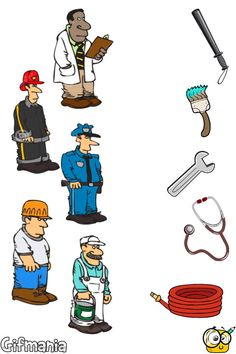 Match Jobs and Tools #professions #jobs #tools #objects #activitypages