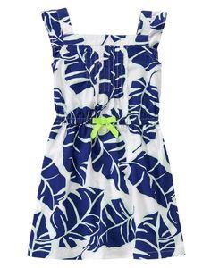 Gymboree Girls 4 5 6 7 Blue Leaf Cotton Sleeveless Dress NWT $35 #Gymboree #Everyday