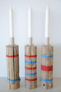 Kerzenhalter, Treibholz-Kerzenhalter, Kerzenhalter-Trio, maritime Deko von manunatura auf Etsy