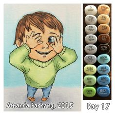 Colored by Amanda Farhang. This is a digital stamp from Make it Crafty. Printed onto Neenah Exact Index 110 lb card stock & colored with Copic Sketch markers.