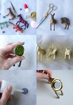 DIY dollar store animal magnets -- Scott and Sheila anniversary gift using the unicorn I took from their wedding?