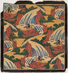 Japanese Waterfall (repeat pattern based on Ukiyo-e Japanese print) African American Artist, American Artists, Japanese Prints, Japanese Art, Mountain Mural, Visual And Performing Arts, Textile Prints, Textile Design, Textiles