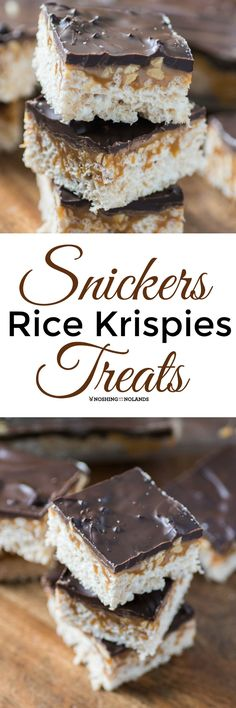 Snickers Rice Krispies Treats by Noshing With The Nolands combines two delicious treats into one fabulous dessert! You are going to want to make these right away! ** Caramel went straight through the bars, made them taste stale, do not recommend** Mini Desserts, Just Desserts, Delicious Desserts, Cereal Treats, Rice Krispie Treats, Rice Krispies, Cereal Bars, Kashi Cereal, Paleo Cereal