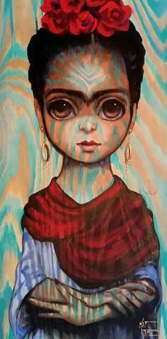 Original Painting Keane Inspired Frida Kahlo Big Eyes Portrait On Wood Panel by Kat Tatz