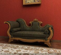 Furniture Model: Black Victorian Chaise Lounge