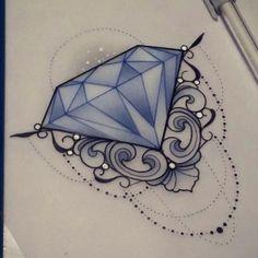 Bright Tattoos, Black Ink Tattoos, Mini Tattoos, Love Tattoos, Beautiful Tattoos, Small Tattoos, Diamond Sketch, Diamond Drawing, Diamond Tattoo Designs