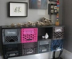 This is pretty cool, especially for a teen's room. Milk crates for storage in an old coffee table or desk.