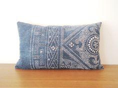 "12""x 20"" Blue Chinese Vintage Batik Pillow Cover, Indigo Lumbar Pillow Case, Bohemian Throw Pillow"