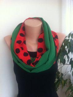 Emerald Green red black polka dot Infinity Scarf  by ScarfAngel, $20.00