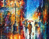 """Rainy Etude 2 — PALETTE KNIFE Original CityScape Oil Painting On Canvas By Leonid Afremov - Size: 30"""" x 36"""" (75cm x 90cm)"""