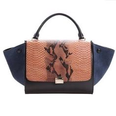 Classic Collection Women s Embossed Imitation Snake Skin Flap and Genuine  Leather Bats Handbag 4223766756bab