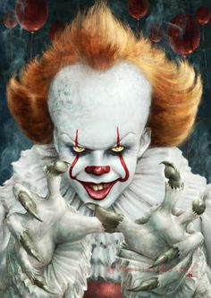 pixelated-nightmares: ITITit is Pennywise! by Kid-Eternity. Pennywise Film, Pennywise The Dancing Clown, Horror Art, Horror Movies, Clown Images, Bill Skarsgard Pennywise, Casa Halloween, Horror Photos, Joker Clown