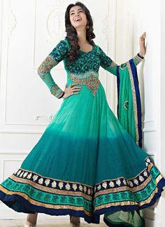 Newest Green And Teal Faux Georgette Salwar Kameez