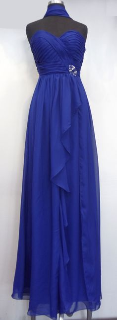 Long Bridesmaid dress in Blue, Red - Strapless style in Chiffon - http://www.loveitsomuch.com/