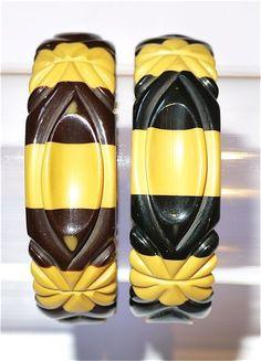 Pair Of Matching Carved Bakelite Bangle Bracelets